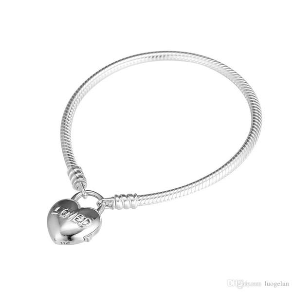 e02e345bb5e3 2019 Día de San Valentín 925 Joyas de plata esterlina Plata Amó Candado  Corazón Pulsera Joyas