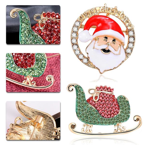 Creativo Corpetto Natale motoslitta Babbo Natale Collana Spilla duplice uso spilla distintivo del regalo del giocattolo decorazione di Natale