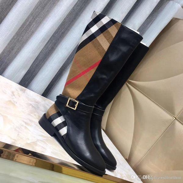 lüksTasarımcı En kaliteli Lüks Moda bayanlar rahat ayakkabı Düşük topuklu diz yüksek çizmeler Patchwork deri moda bayan kışlık botlar d
