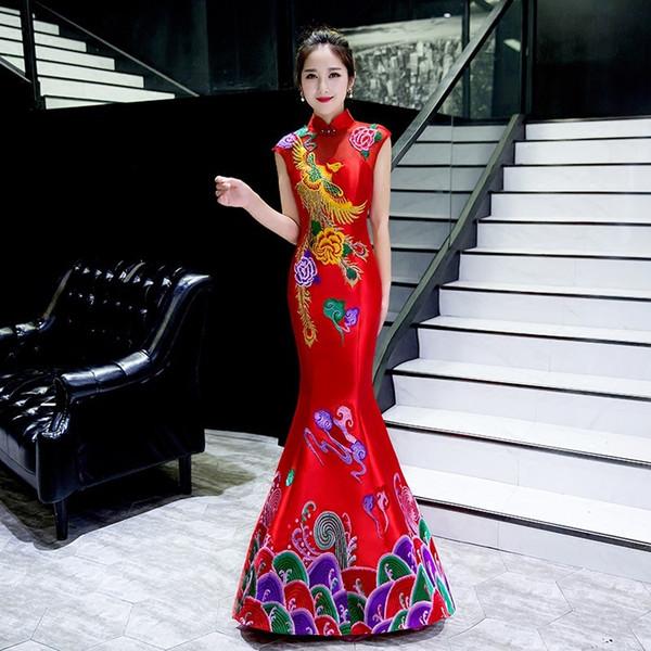 Oriental Evening Dress Chinese Style Fashion phoenix Embroidery Qipao Sexy Long Mermaid Cheongsams Vestidos S-XXL