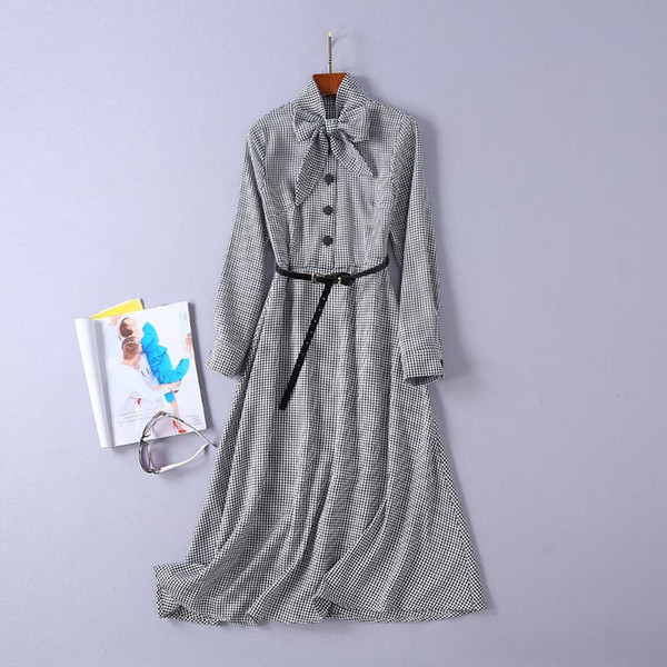 2019 Spring Long Sleeve Crew Neck Plaid Print With Ribbon Tie-Bow Lady Mid-Calf Dresses Luxury Runway Dresses N13A1890