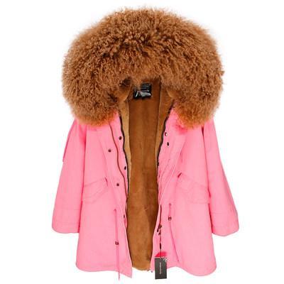 hot sale INS caramel Mongolia sheep fur hoody trim MAOMAOKONG Brand female fur coats caramel rabbit fur lining pink long parkas
