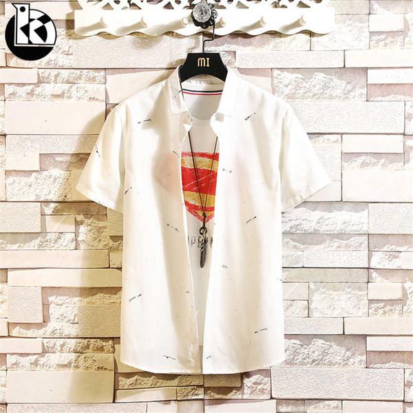 2019 sommer Neue Quadratische Kragen Lose kurzärmeliges Hemd Männer Mode Lässig Flut Marke Kreative Muster Stickerei Herrenhemden
