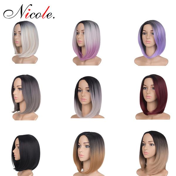 Venta al por mayor pelucas cortas y rectas BOB Omber Hair Women Bob Style peluca de cabeza completa 200 g / paquete sintético real grueso negro marrón cabello rubio