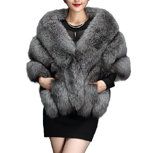 Winter Faux Fur Coat Bolero Bridal Shawl Women Warm Hairy Fur Cape Jackets Prom Wrap Shrug Female Abrigo Mujer A4
