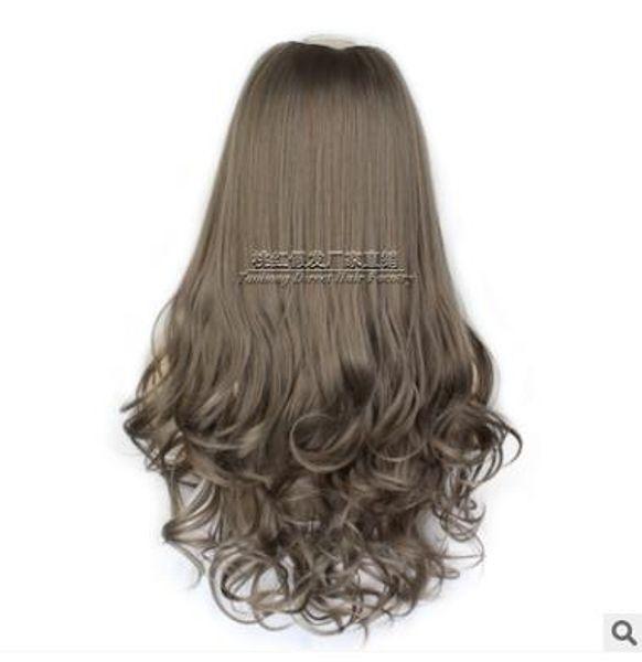 Peruca em forma de U meia-cabeça conjunto, cabelo longo encaracolado feminino, cacho de pera flor meia-cabelo definido, peruca em U-queda queda, que é popular na Europa e América