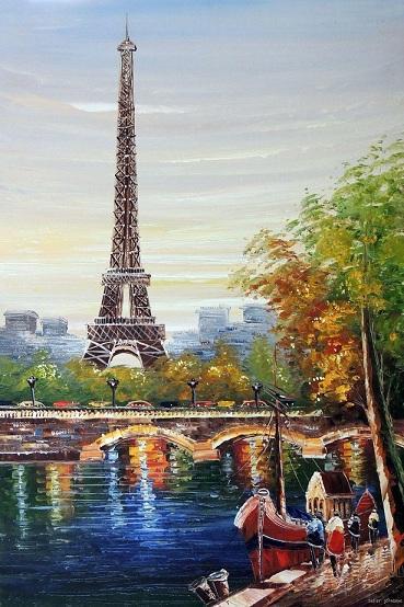 Torre Eiffel Parigi Fiume Senna Barche di alta qualità dipinta a mano HD Stampa di fama mondiale Pittura ad olio su tela Decorazioni per la casa Taglie multiple