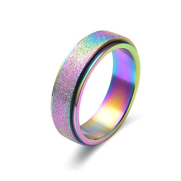Anelli arcobaleno 6mm Anelli in acciaio inossidabile per uomo donna alta lucidata bordi anello di fidanzamento gioielli in oro colore nero