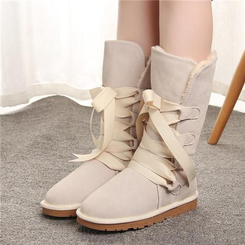2019New Australian Style designer boots Women Tall Snow Boots Riband Leather Winter Shoes Women's Fur Snow Boots Brand Ivg
