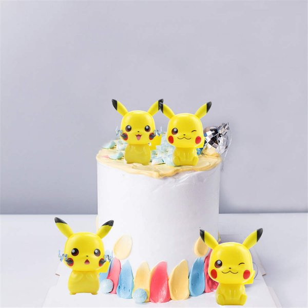4 Pcs/Lot Pokemons Pikachu PVC Action Figures doll decoration cake baking decoration doll children's toys