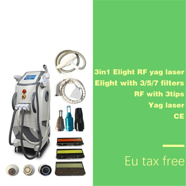 Épilation professionnelle IPL + Elight + SHR Système de rajeunissement de la peau / acné / épilation / rajeunissement de la peau Machine de lumière pulsée intense