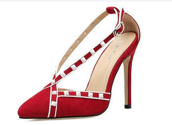 Top Quality Rock stud shoes Women Red Pumps Rivet Narrow Belt High Heels Sandals Womens Fashion Walking Show Shoes zapatos mujer