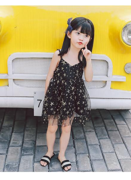 Meninas do bebê de fadas suspender vestidos crianças Starfish roupas presentes de verão crianças bonitas princesa saias forrado preto branco dropship