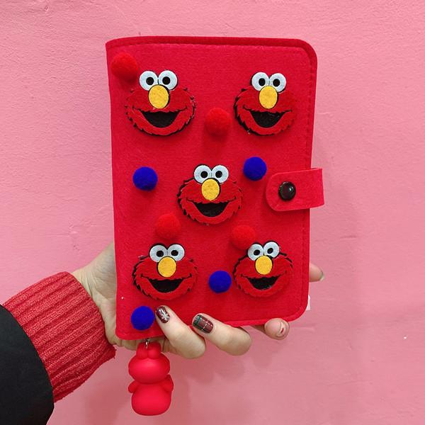 3 Colors Felt Cartoon Monster Pendant Toy DIY Diary Notebook Notepad Calendar Journal PU Planner Girls Plan Book Writing Supply