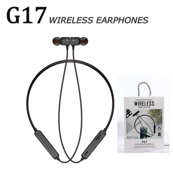 Bluetooth Headphones magnetic Wireless Running Sport earphones earbuds with Mic TF card function G17 Sports neckband Headset Earphone