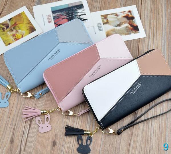 Versão Designer Mulheres bolsa Feminino longa coreano cor da costura Zipper grande capacidade dinheiro Mobile Phone saco do cartão Carteira Bags # 9