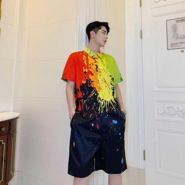 Men Bib Pant Summer Short Sleeve Loose Casual Ink Pattern Print Jumpsuits Harem Pant Male Streetwear Hip Hop Overalls
