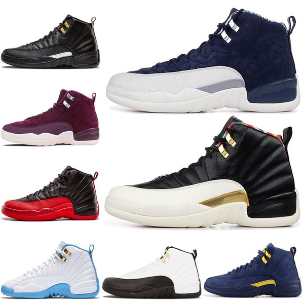 Basketball Shoes 12 12s Men Shoe University Gold FIBA Reverse Taxi Flu Game French Blue UNC Mens Trainers Outdoor Sports Sneakers 7-13