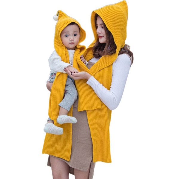 Winter Warm Women and Kid Cotton Hooded Poncho With Hiking Hat Scarves in 1 Lady Wraps Knitted Hood Scarf Solid