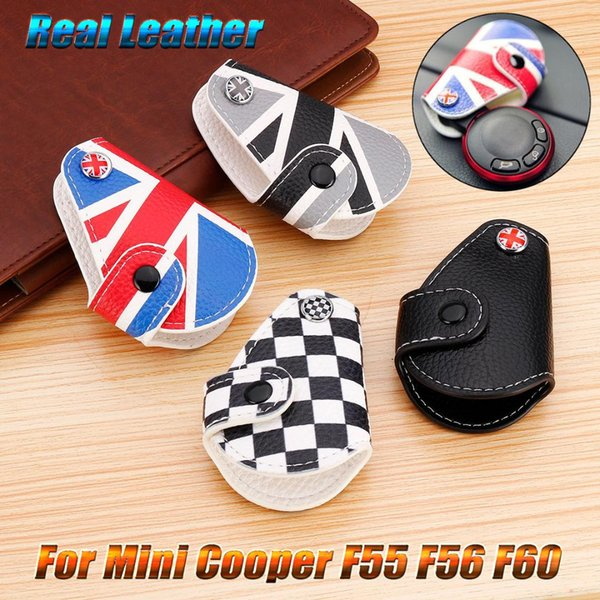 Real Leather Remote Fob Key Case Bag Cover Holder For Mini Cooper Countryman Clubman R55 R56 F55 F56 F60 Car Styling Accessorie