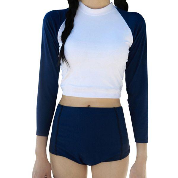 Women Surfing Swimsuits Long Sleeve Suncreen Swimsuits Two-piece High Waist Bikini Set Swimwear Female Bathing Suit Navy Blue