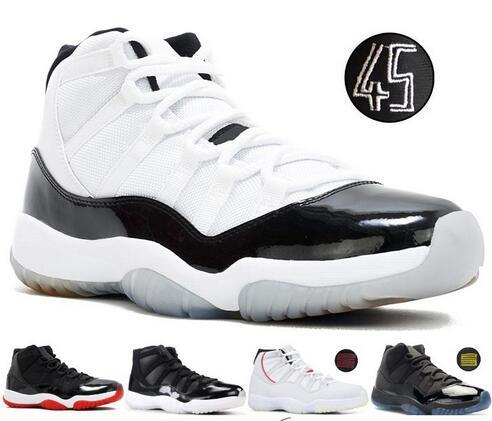 Concord 45 11S XI Platinum Tint mens basketball shoes 11 Bred Space Jam Cap and Gown PRM womens Sports sneakers US 5.5-13
