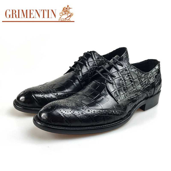 GRIMENTIN Sıcak satış marka erkek ayakkabı İtalyan moda siyah kahverengi adam oxford ayakkabı hakiki deri timsah tahıl iş düğü ...