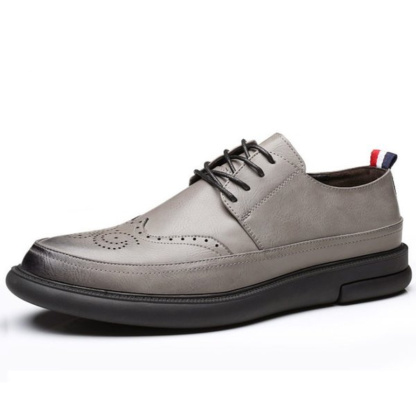 Sales British classic fashion Brooker style men's casual shoes carved patterns business work micro fiber shoes thick sole footware PU 38-44