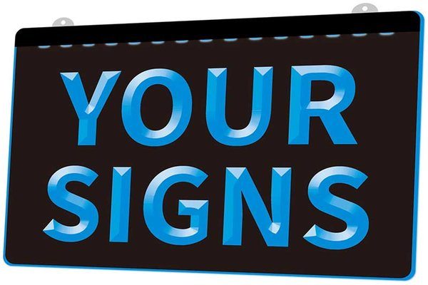 [F0001] Your Signs Plaque NEW 3D Engraving LED Light Sign Customize on Demand 8 colors
