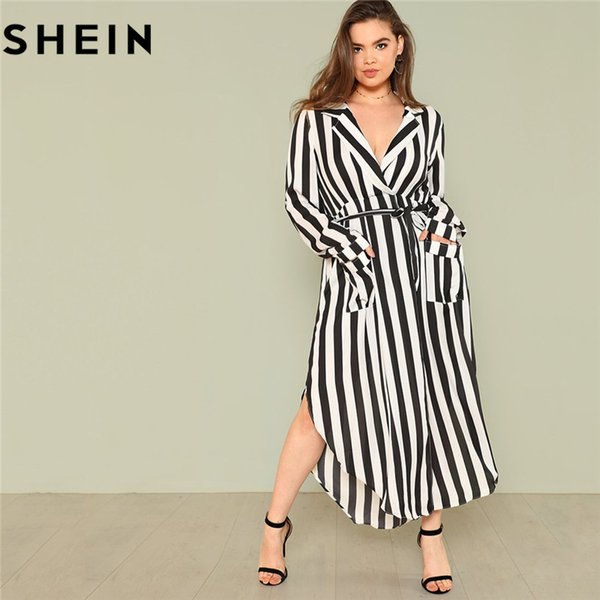 SHEIN Black And White Stripe V Neck Belted Plus Size Maxi Dress Spring Fall Office Lady High Waist Split Side Striped
