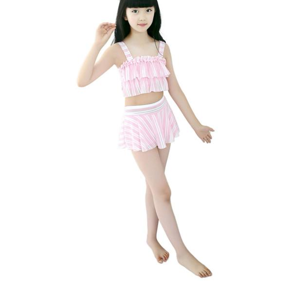 2018 Hot Summer Children Girls Stripe 2 Pieces Swimwear Swimsuits Beach Wear Tops Skirts Set