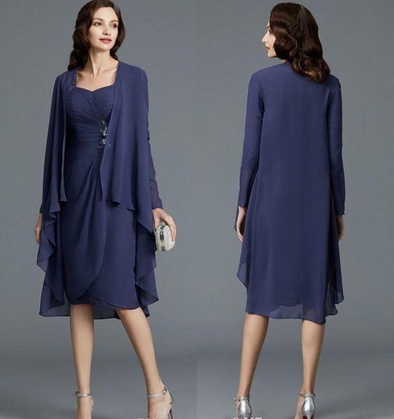 Design sexy uma linha na altura do joelho chiffon mãe da calça nupcial ternos jaqueta de manga longa apliques mangas de renda saia mãe