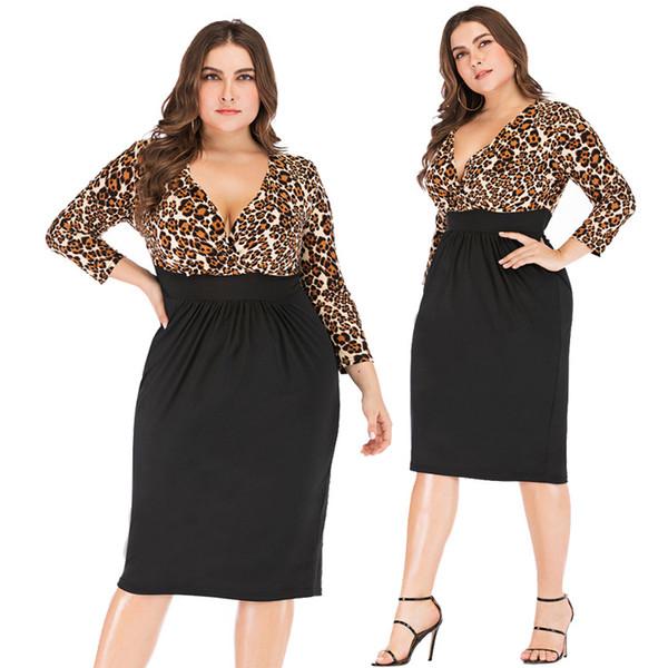Womens Plus Size Dress 2019 Fashion Léopard Habillé Casual Grande Taille Casual Sexy Col en V Couleur Correspondant Une Jupe Jupe XL-5XL