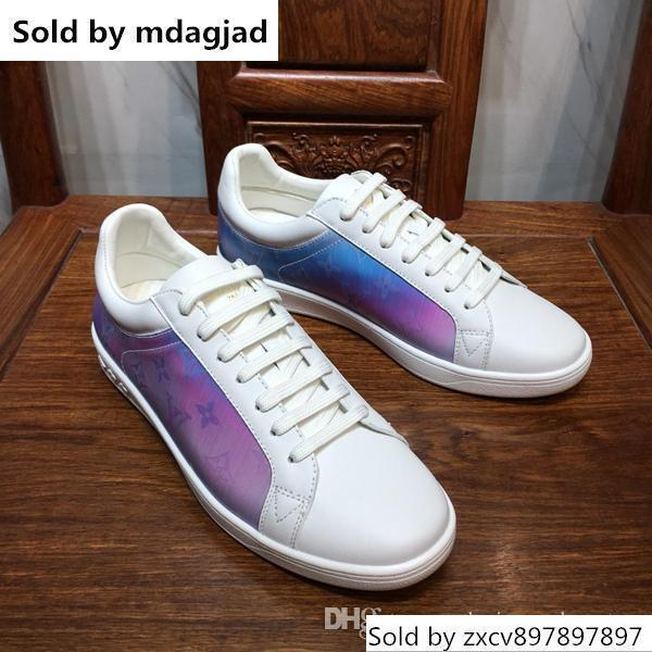 Lastest Rivoli Sneakers Mens famoso designer Scarpe Magic Rainbow stampa a colori in pelle di bassa fino piatto Lace Up Shoes Casual con la scatola