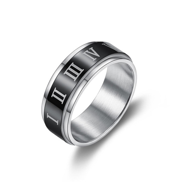 Fashion Roman Numerals Black Ring Men's Ring Cool Stainless Steel Rotatable Wedding Jewelry Fashion Letter Male Rings