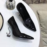 Silver heel Black Shiny Leather