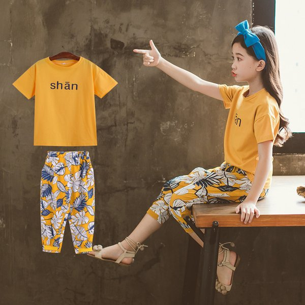 Hot fashion Teenage Girls clothing sets casual sport suits letter t-shirt Blouse + leaf leggings Party Two Piece 4...9T kids clothes