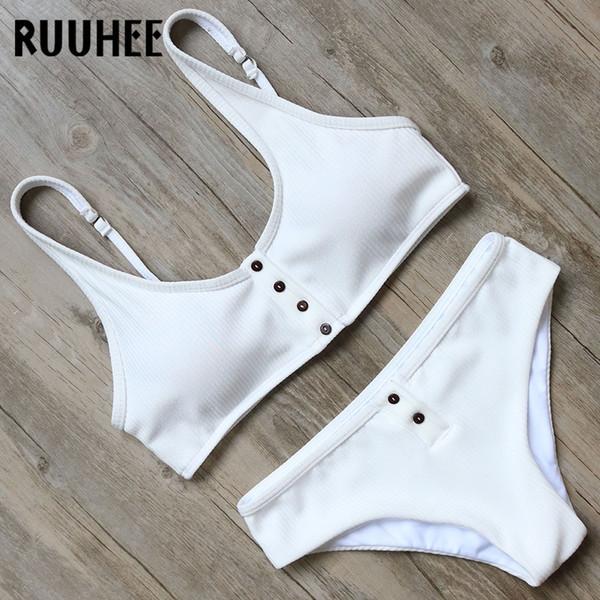 Ruuhee Bikini Swimsuit Swimwear Women Solid Bikini Set Push Up Bathing Suit Sport Top 2018 Female Beachwear Swimsuit With Pad Y19062901