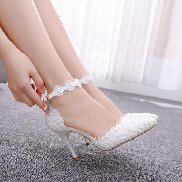 Каблук Братц обувь белый розовый кружевной цветок Пром обувь Свадебный Люкс Сандалии невесты Высокие каблуки