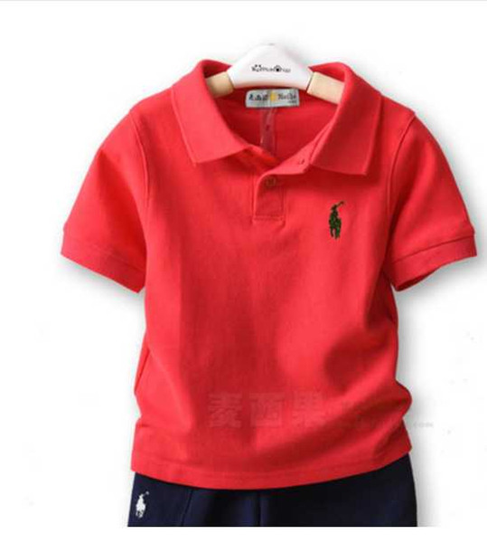 top popular Kids Lapel T-shirt New Short sleeves Boys Clothing Classic Children Boys Girls Tops t Shirt Brands T shirts Cotton Tees Solid Color 2020