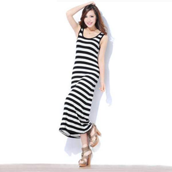 Womens Maxi Dress Solid Color Long Tank Dress Slim Fit Casual Beach Dresses  2019 Summer Female Clothing Plus Size Women Long Dress Floral White Dress  ...