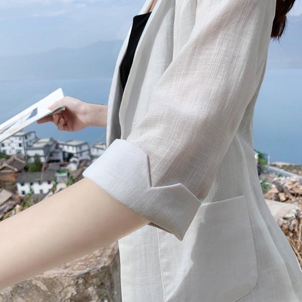 White Black Color Blazer Jacket Women Fashion 3/4 Sleeve Cotton Linen Coat Elegant Single Button Jacket Suits Female Plus Size