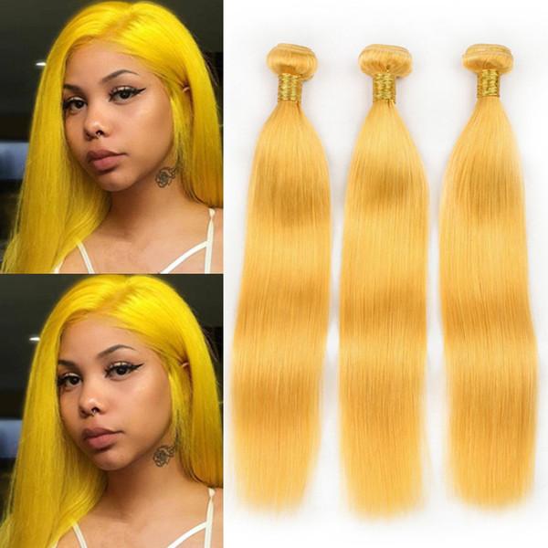 "Virgin Peruvian Human Hair Pure Yellow Silky Straight Bundles Deals 3Pcs Lot Yellow Colored Human Hair Weave Wefts 10-30"" Mixed Length"