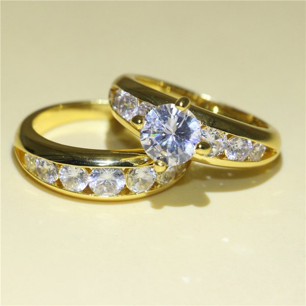 Hotstone88 2Pcs Yellow Gold Filled Band Ring Set Round Cut 1ct Clear White Topaz Zirconia Prong Wedding Jewelry Bride Luxury Gift Size 5-10