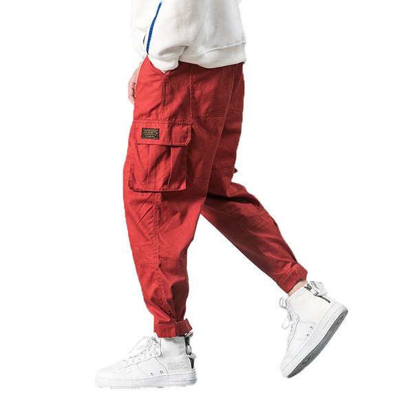 2018 Men Multi-pocket Elastic Waist Design Harem Pant Street Punk Hip Hop Red Casual Trousers Joggers Male Army Cargo Pants 5xl C19040101