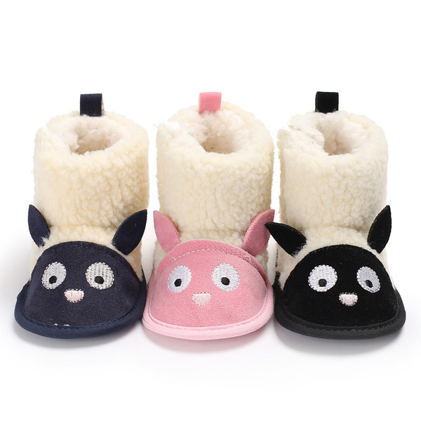 Winter 0-1 years old men and women baby plus velvet cartoon warm snow boots soft bottom baby toddler shoes