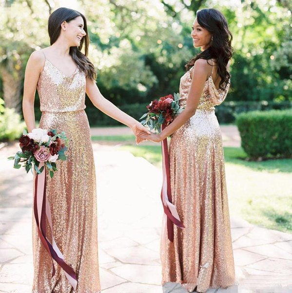 Rose Gold Blush Pink Bridesmaid Dresses Long Spaghetti Backless Floor Length Sequined Fabric 2019 Maid Of Honor Wedding Guest Dress vestidos