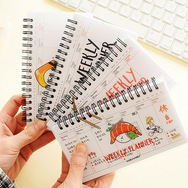 Kawaii Cute Notebook Pvc Для Спиральных Ноутбуков Ежедневно Еженедельный Планировщик Для Повестки Дня Дневник Записей Время Организаторы Для Школьных Принадлежностей