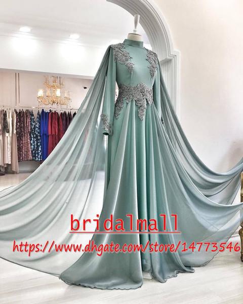 Islamisches Dubai 2019 Applizierte Chiffon Muslimische Abendkleider Lange Ärmel Perlen Formales Kleid Saudi Arabisch Abendkleid Party Robes de soirée