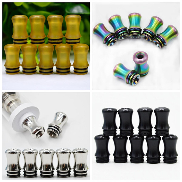 best selling Rainbow Stainless Steel PEI POM 510 Drip Tip Mouth Wide Bore Mouthpiece Innovative Design Fit TFV8 BABY Tank TFV12 Baby Prince Atomizer